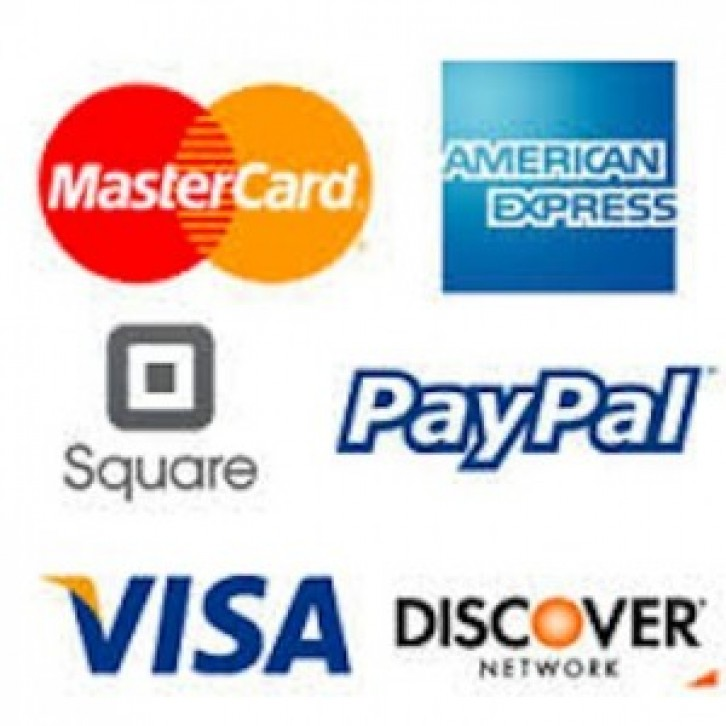 Now Accepting PayPal, Square, Visa, MasterCard, American Express and Discover!